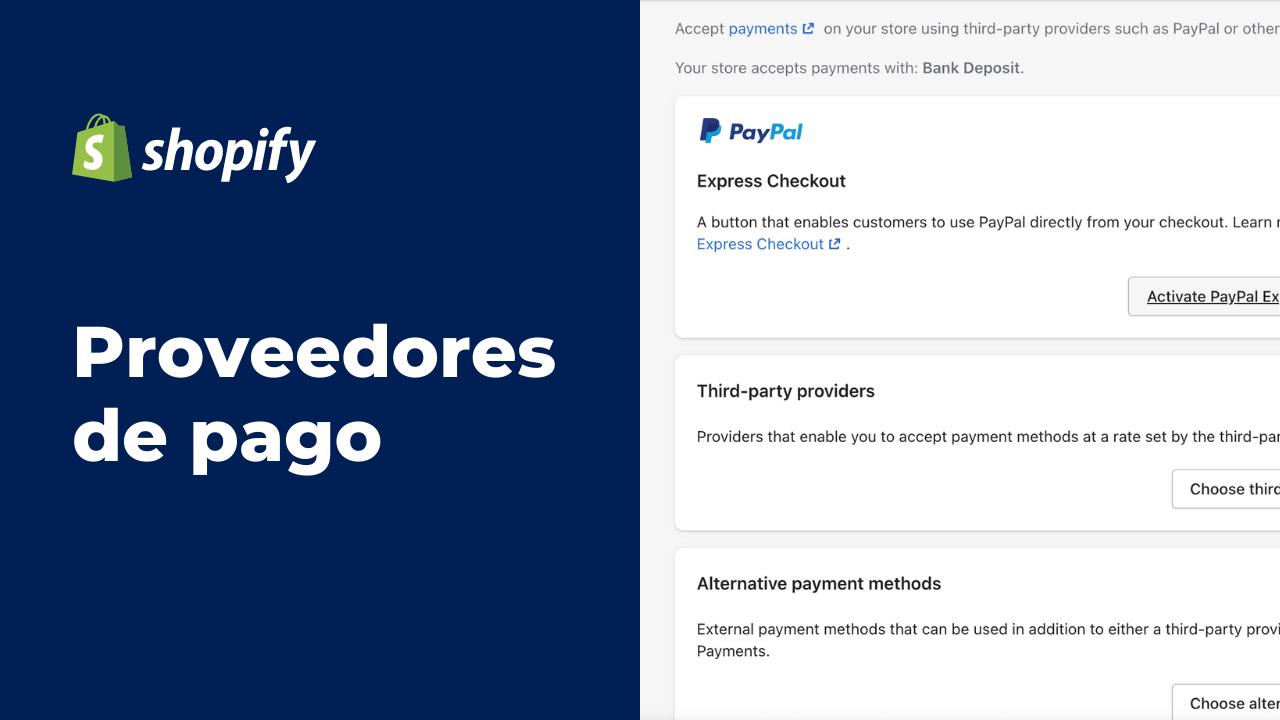 Proveedores de Pago en Shopify