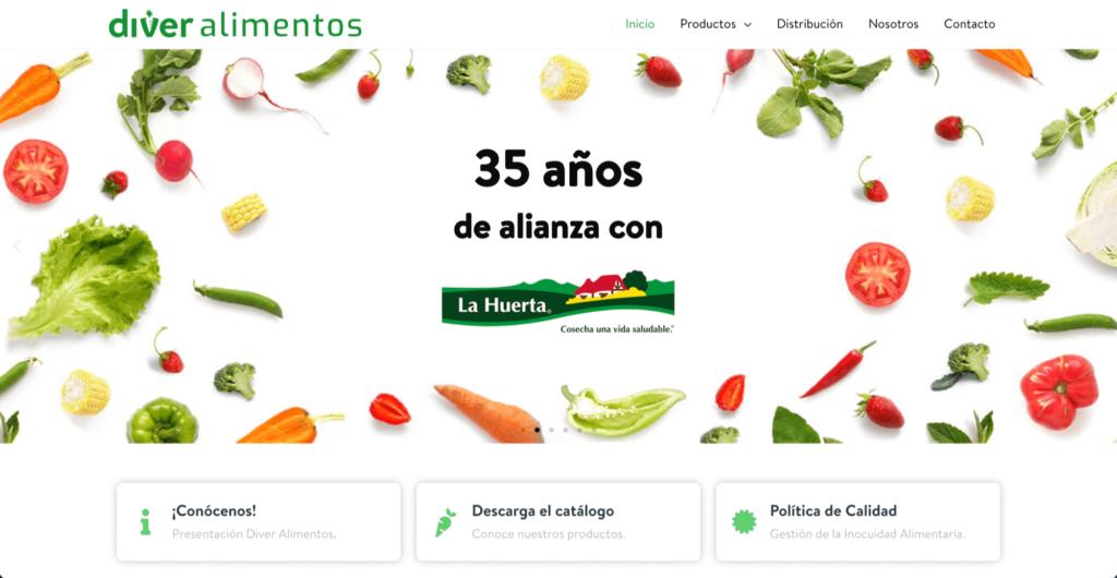Diver Alimentos - Diseño web por Mobkii